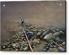 Umbrella On The Rocks Acrylic Print by Dale Stillman