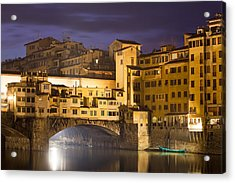 Vecchio Bridge At Night Acrylic Print by Andre Goncalves