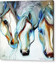 3 Wild Horses In Abstract Acrylic Print