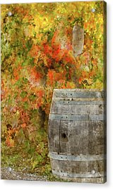 Wine Barrel In Autumn Acrylic Print