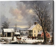 Winter In The Country Acrylic Print by George Henry Durrie