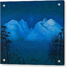 Winter Night In The Mountains Acrylic Print