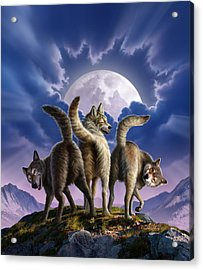 3 Wolves Mooning Acrylic Print by Jerry LoFaro