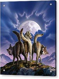 3 Wolves Mooning Acrylic Print by Jerry LoFaro