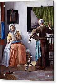 Woman Reading A Letter Acrylic Print by Gabriel Metsu