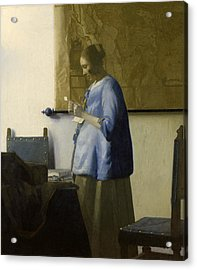 Woman Reading A Letter Acrylic Print by Johannes Vermeer
