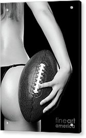 Woman With A Football Acrylic Print by Oleksiy Maksymenko
