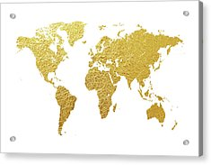 World Map Gold Foil Acrylic Print