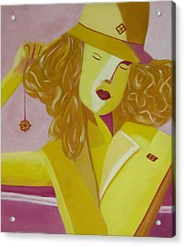 Yellow Hat Acrylic Print by Patricia Cleasby