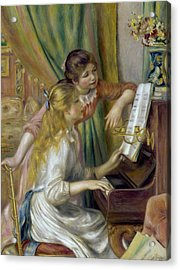 Young Girls At The Piano Acrylic Print by Pierre-Auguste Renoir