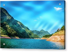The Mountains And Reservoir Scenery With Blue Sky Acrylic Print