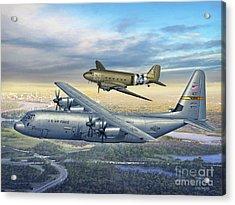 314th Aw Legacy - C-130j And C-47 Acrylic Print by Stu Shepherd