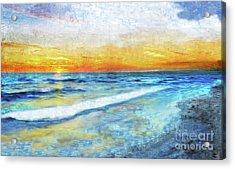 Seascape Sunrise Impressionist Digital Painting 31a Acrylic Print