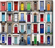 32 Front Doors Horizontal Collage  Acrylic Print by Richard Thomas