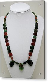 3505 Fancy Jasper And Unakite Necklace Acrylic Print by Teresa Mucha