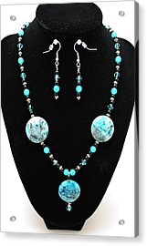 3508 Crazy Lace Agate Necklace And Earrings Acrylic Print by Teresa Mucha