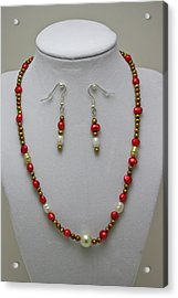 3539 Pearl Necklace And Earring Set Acrylic Print by Teresa Mucha