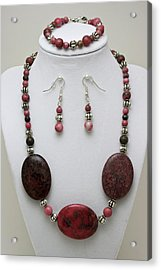 3544 Rhodonite Necklace Bracelet And Earring Set Acrylic Print by Teresa Mucha