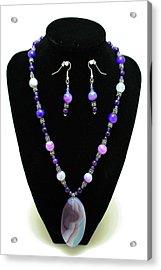 3547 Purple Veined Agate Set Acrylic Print by Teresa Mucha