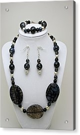 3548 Cracked Agate Necklace Bracelet And Earrings Set Acrylic Print by Teresa Mucha