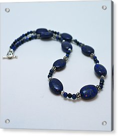 3553 Lapis Lazuli Necklace And Earrings Set Acrylic Print by Teresa Mucha
