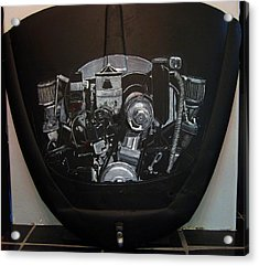 Acrylic Print featuring the painting 356 Porsche Engine On A Vw Cover by Richard Le Page