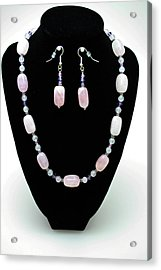 3560 Rose Quartz Necklace And Earrings Set Acrylic Print by Teresa Mucha