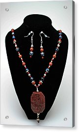 3578 Jasper And Agate Long Necklace And Earrings Set Acrylic Print by Teresa Mucha