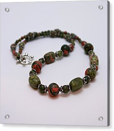 3579 Unakite Necklace  Acrylic Print by Teresa Mucha
