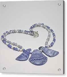 3588 Blue Banded Agate Necklace Acrylic Print by Teresa Mucha