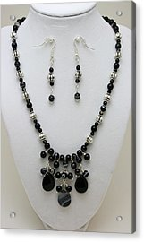3601 Black Banded Onyx Necklace And Earrings Acrylic Print by Teresa Mucha