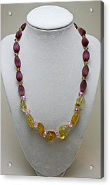 3603 Citrine And Amethyst Cats Eye Necklace Acrylic Print by Teresa Mucha