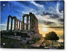 Temple Of Poseidon During Sunset Acrylic Print by George Atsametakis