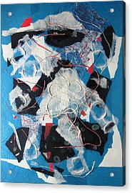 3d Abstract On Blue Acrylic Print by David Raderstorf