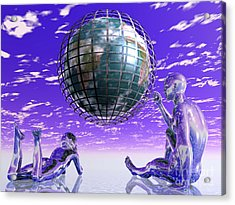 3d Aliens With Caged Earth Acrylic Print
