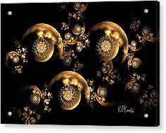3d Filagree Gold Pearl Chain Acrylic Print