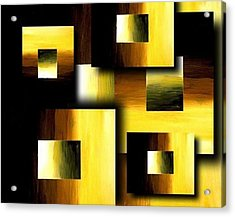 3d Golden Squares Acrylic Print by Teo Alfonso
