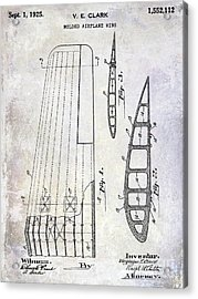 1925 Airplane Wing Patent Acrylic Print