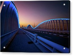 Amazing Night Dubai Vip Bridge With Beautiful Sunset. Private Ro Acrylic Print