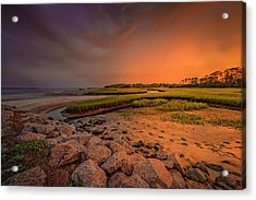 Acrylic Print featuring the photograph Black Rock Beach by Peter Lakomy