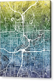 Atlanta Georgia City Map Acrylic Print by Michael Tompsett
