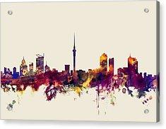 Auckland New Zealand Skyline Acrylic Print by Michael Tompsett