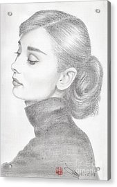Acrylic Print featuring the drawing Audrey Hepburn by Eliza Lo