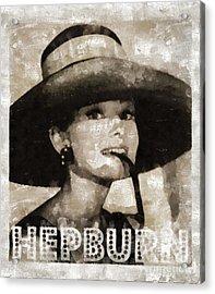Audrey Hepburn Hollywood Actress Acrylic Print by Mary Bassett