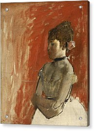 Ballet Dancer With Arms Crossed Acrylic Print by Edgar Degas