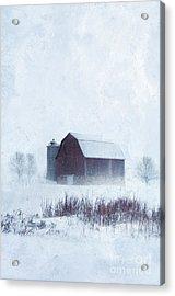 Barn In Winter Acrylic Print by Jill Battaglia