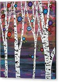 4 Birches Acrylic Print by Karla Gerard