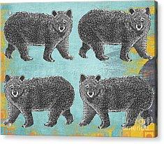 4 Black Bears Acrylic Print
