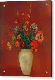 Acrylic Print featuring the painting Bouquet In A Chinese Vase by Odilon Redon