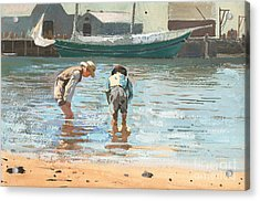 Boys Wading Acrylic Print by Winslow Homer